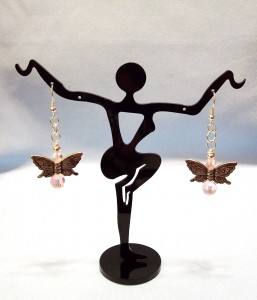 Butterflies with Pink Crystal Accents