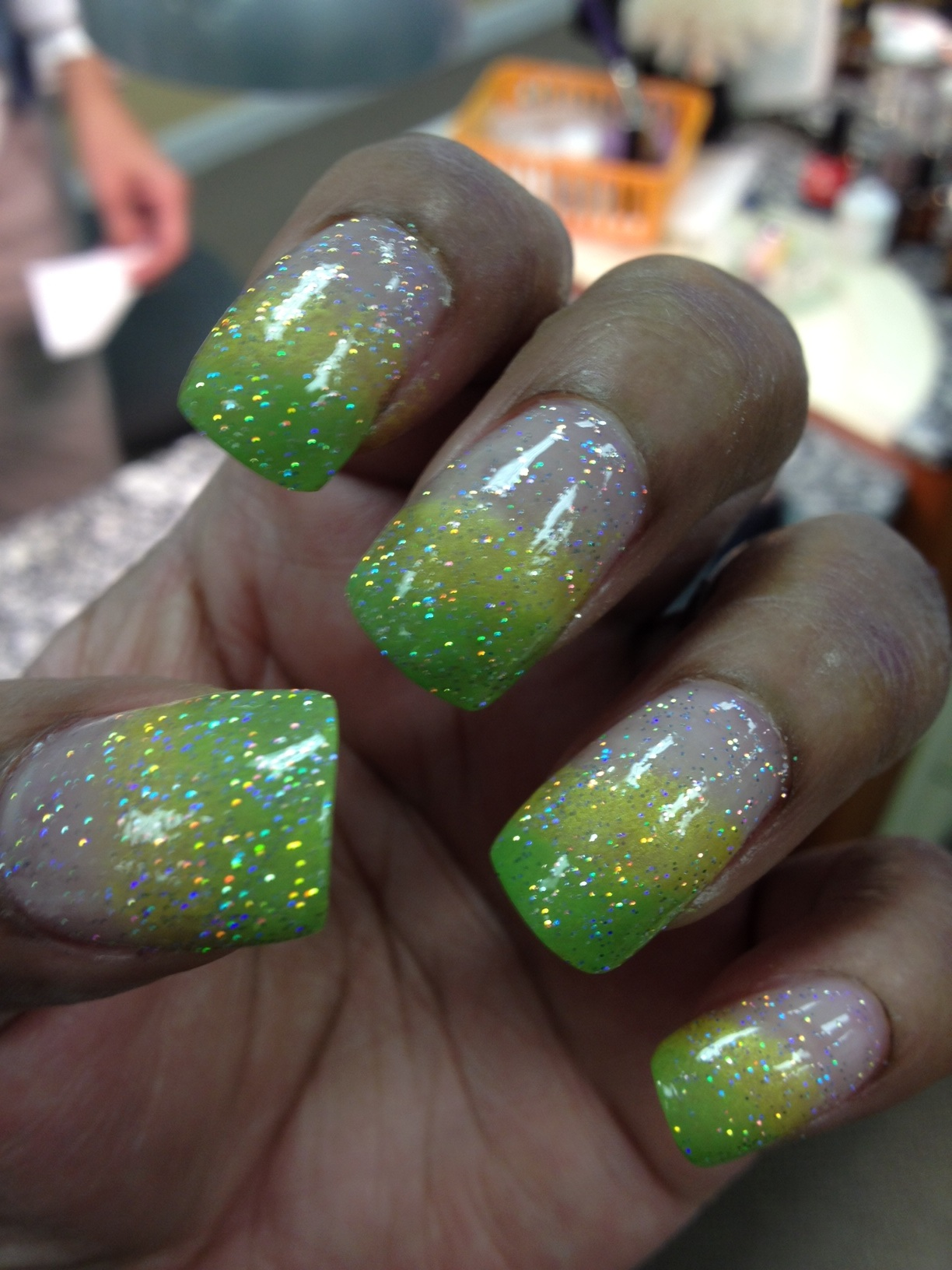 St. Patrick\'s Day Sponge Nails with China Glaze Electropop Brights