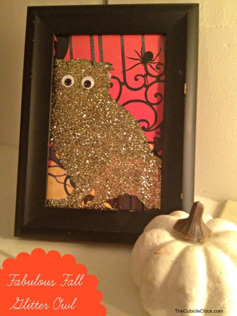 DIY Decor Fabulous Fall Glitter Owl