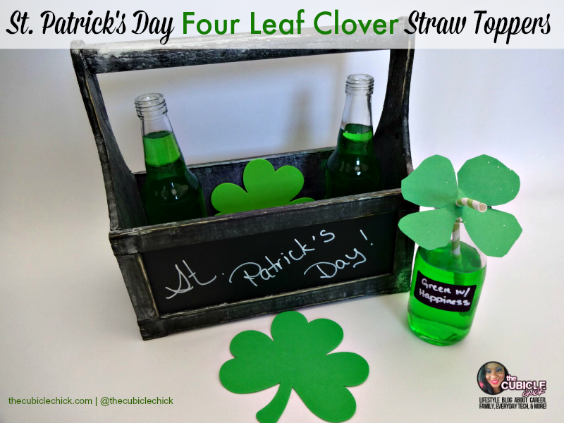 St. Patrick's Day Four Leaf Clover Straw Toppers