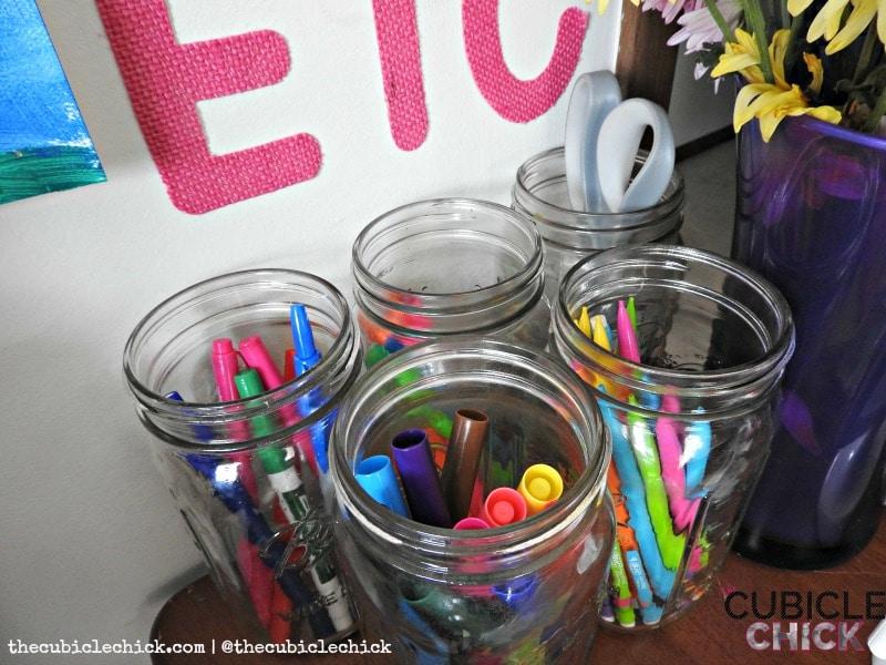 Mason jar home office DIY