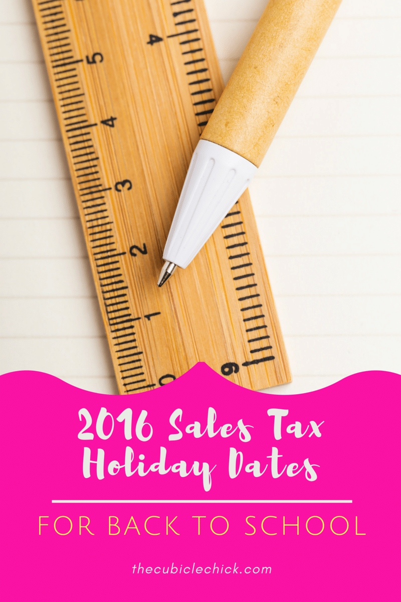 2016 Sales Tax Holiday Dates by State for Back to School