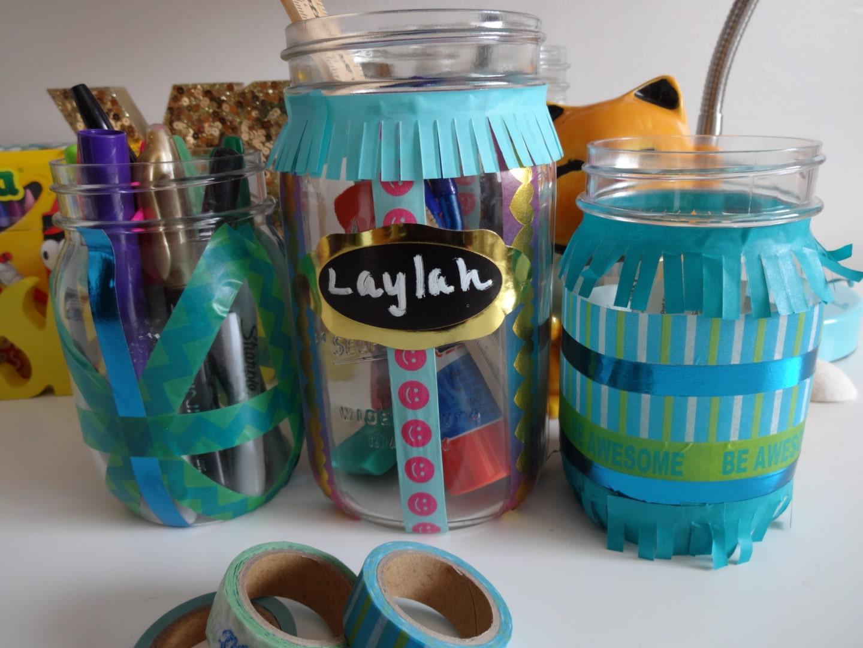 Washi Tape Mason Jar Desk Organizers for Back to School