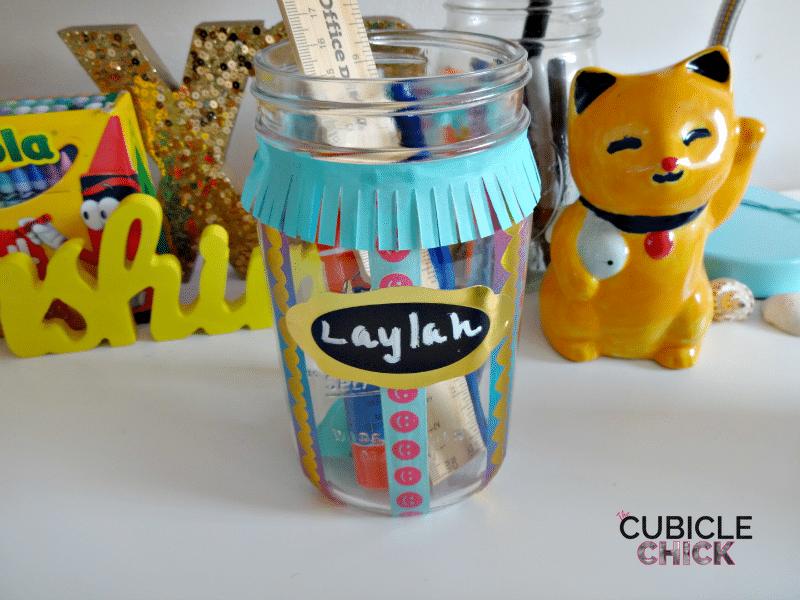 Washi Tape Mason Jar for School Supplies