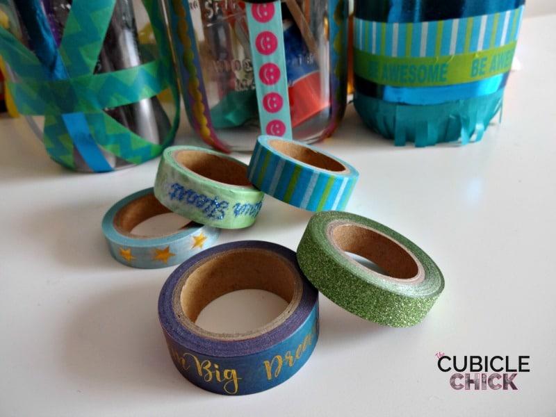 Washi Tape Mason Jars