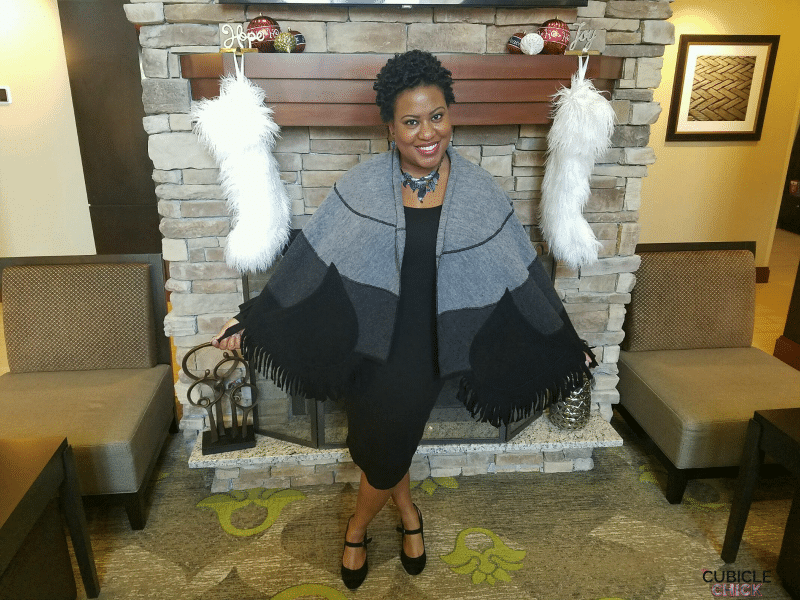 Style Cues: Holiday Magic with a Little Black Dress and Wool Capelet #ad