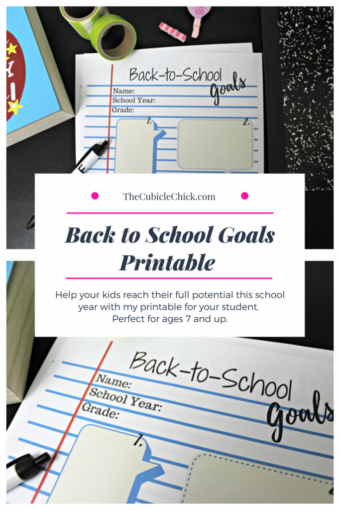 Free Back to School Goals Printable For Your Student