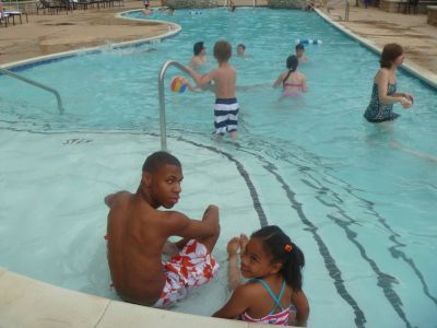 My cousin and my daughter at the pool at the Hilton Branson Convention Center Hotel
