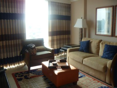 Our living room area in our condo suite at the Hilton Branson Convention Center Hotel