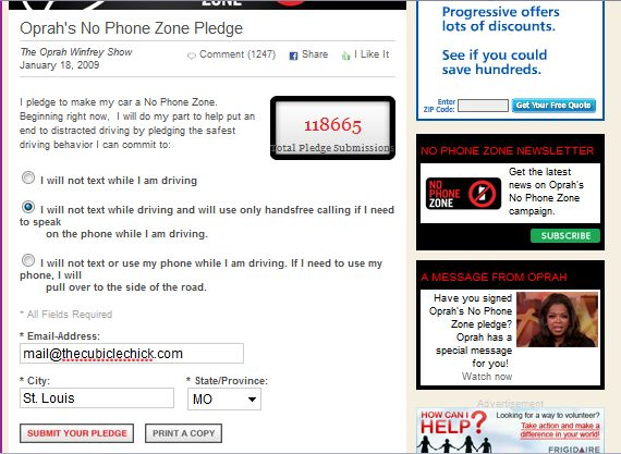 Oprah Says Your Car Should Be A No Phone Zone
