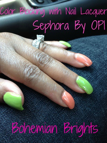 Color Blocked Nails with Sephora By OPI Bohemian Brights