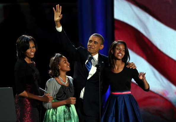 Election Fab: Michelle, Malia, and Sasha Obama During Victory Speech