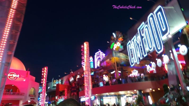 Universal City Walk Los Angeles at night
