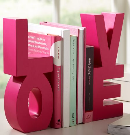 Pink LOVE Word Bookends