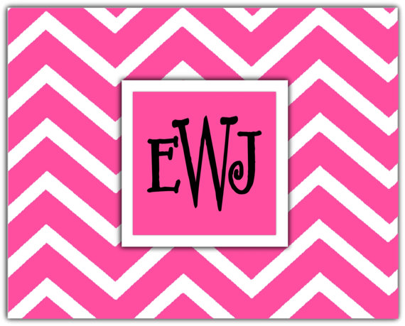 Personalized Chevron Notecards