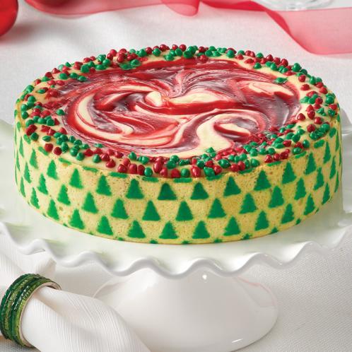 Junior's Strawberry Swirl Designer Christmas Cheesecake