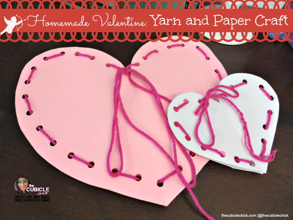 Homemade Valentine Yarn and Paper Craft