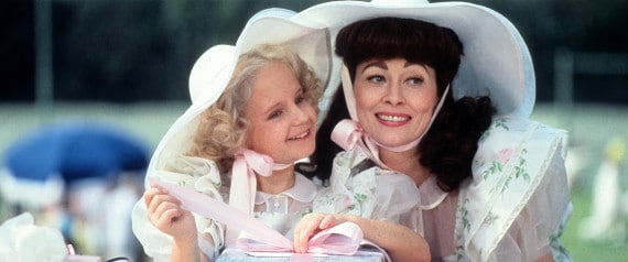 "Actress Faye Dunaway and Mara Hobel on the set of Paramount Pictures movie "" Mommie Dearest"" in 1981. (Photo by Michael Ochs Archives/Getty Images)"