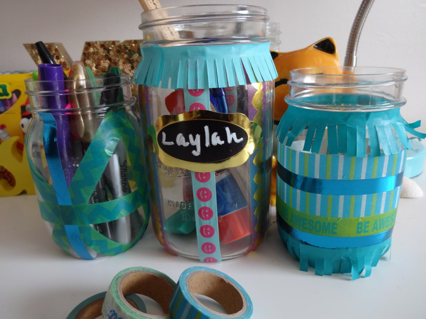 Washi Tape Mason Jar Desk Organizers for Back to School
