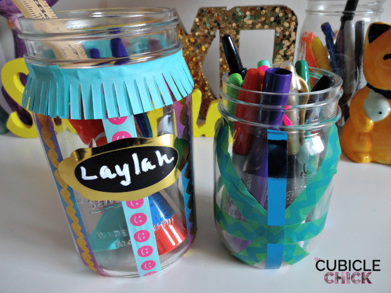 Washi Tape Mason Jar