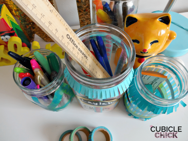 Washi Tape Mason Jar Organizer