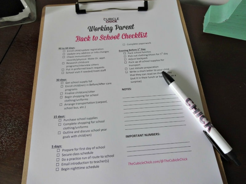 Working Parent Back to School Checklist Printable #BTS