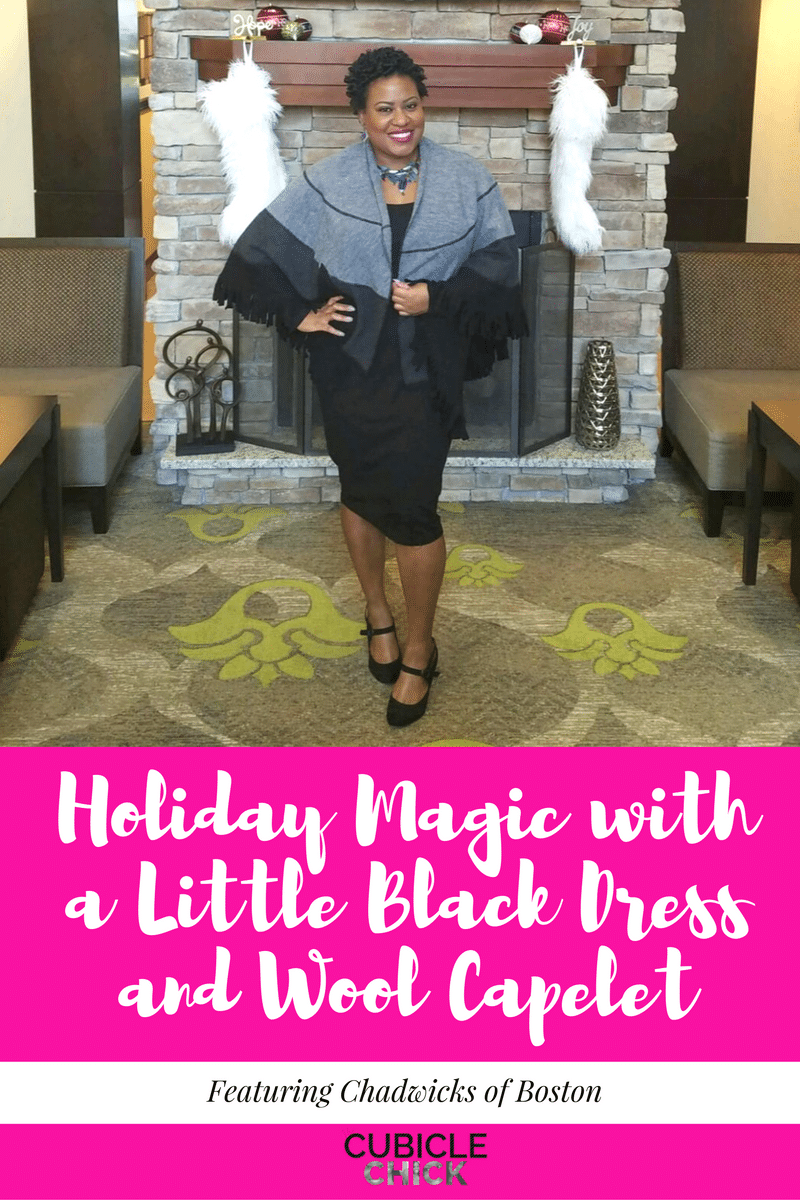 Holiday Magic with a Little Black Dress and Wool Capelet