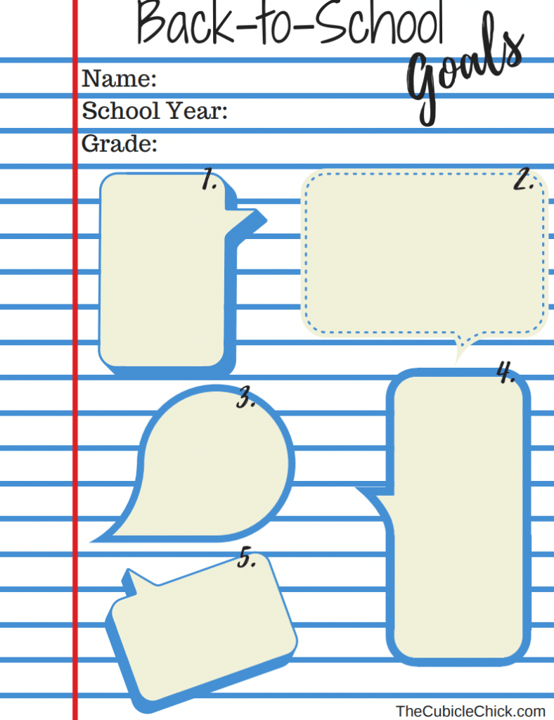 Back to School Goals Printable