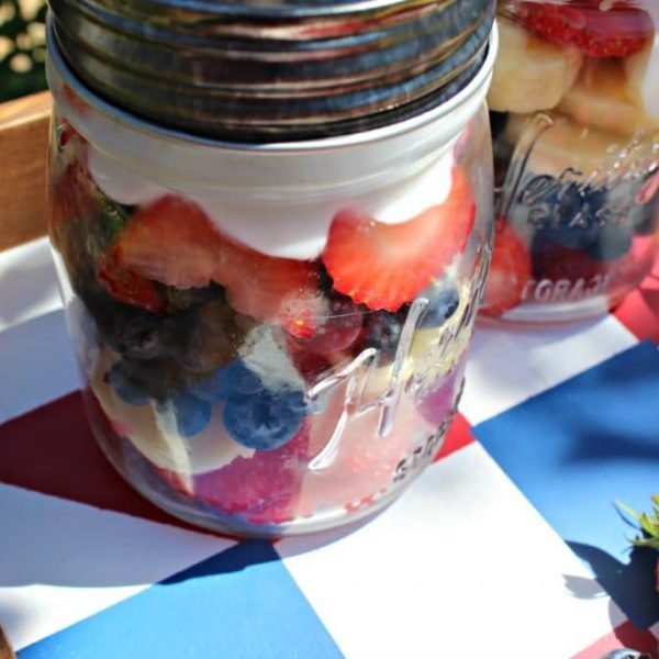 Healthy Red White and Blue Fruit Mason Jars