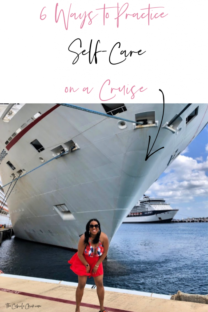 Black woman in front of a Carnival cruise ship.