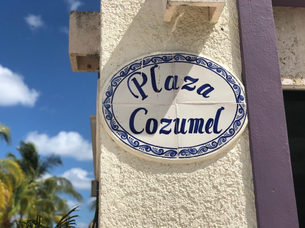 Plaza Cozumel sign in Cozumel Port