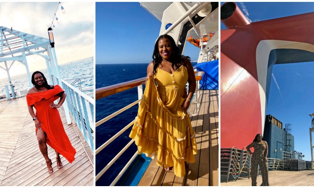 Black woman wearing three different outfits on a cruise