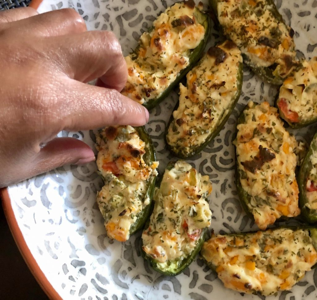 It's grilling season! Give your meal some sizzle with this Stuffed Jalapeño Peppers recipe that I recreated from Cooking Light.